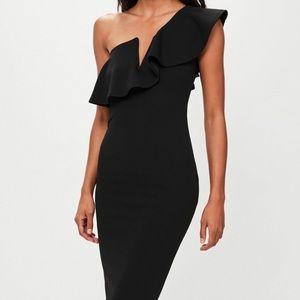 Missguided one shoulder ruffle midi black dress